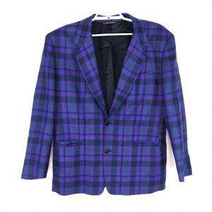 Vtg BYBLOS Italy Men's Purple Plaid Wool Blazer 52